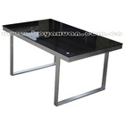 Modern look and feel black tempered glass&brush nickle dining table/DT-006