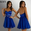 SC073 Royal Blue Women Organza Short Prom Dress 2012