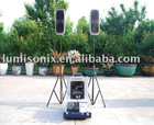 Plastic Case Speakers with 2 x 5 Band Graphic Equalizers, Easy to Carry