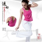 lady's new fashion sexy sportswear yoga sets fitness rose vest top and white pants PTT mix sizes tieback at back