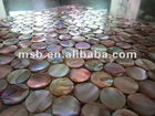 natural iridescent circle chinese freshwater mother of pearl mop shell mosaic tiles on mesh