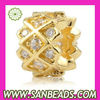 Gold plated Sterling Silver Beads with Clear stones Wholesale