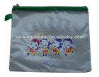 Factory clear Plastic File Bag for Promotion office stationery document bag pencil case paper bag with green zipper lock