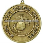 Antique Gold plated medal with high relief logo