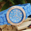 New Vogue Geneva Crystal Bezel Fashion Colors Silicone Band Lady Wrist Watch