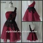 burgundy one shoulder with black lace cocktail dress 2012