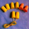 Bullet Shape PU Foam Earplug With Cord/SNR 33dB NRR 31dB