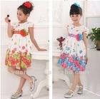 Girls lovely floral print summer dance dresses