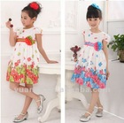 Girls lovely floral print summer dance dresses