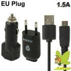 EU Plug High Performance Monie 1.5A 3 in 1 USB Travel+USB Car Charger for Samsung Galaxy Note/i9220/N7000/i9100/S5830
