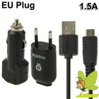 EU Plug High Performance Monie 1.5A 3 in 1 USB Travel+USB Car Charger for Samsung Galaxy Note/i9220/N7000/i9100/S5830