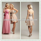 Best seller strapless bridesmaid gown scoop neck with pleats handmade flowers bow chiffon bridesmaid dresses BDS-010