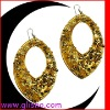 glass beads covering earring