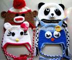 Hand Knit Crochet Animal Hat, Crochet Owl Hat, Crochet Panda Hat,Crochet Kitty Hat, Hand Crochet Sock Monkey Hat (KCC-CR0051)