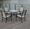 2012 aluminum frame glass top dining set aluminum furniture