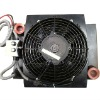 hydraulic oil cooler with fan for mobile machinery
