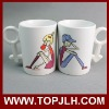 Ceramic DIY sublimation lover mugs with coating