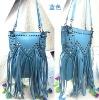 Blue long tassels handbag bags with stud for 2013 spring