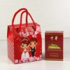 printed paper wedding box for candy with nylon handle