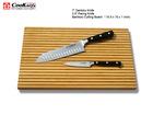 Santoku Knife & Paring Knife with Bamboo Cutting Board