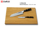 Santoku Knife & Paring Knife with Bamboo Cutting Board