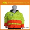 LATEST EN471 yellow and orange Men's waterproof and windproof safety hi vis workwear