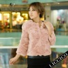 2012 Hot sale women genuine Rex Rabbit fur outwear Pink Fur Jacket #051-B-1
