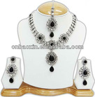 New Design high quality silver plated black Indian bridal jewelry sets