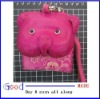 Pink pig leather coin purse pouch with short belt
