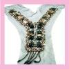 2011 newly fashion lace collar neckline trim, decorative trim with rhinestone,golden metal,new style,sparkling