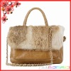 2013 Collections ! Genuine leather ladies handbag with rabbit fur cover