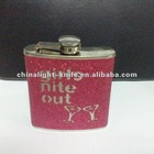 stainless steel hip flask with leather wrapped