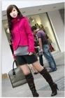 Elegant Style Stand Collar Short Woolen Coat Rose CP12092703-1
