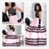 New arrival hot sale one soulder black and white flower girl dresses