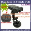 "Dual Lens Camera IR Vehicle DVR 120 degree Wide Angle 180 degree Rotable Lens 270 degree Rotatable 2.0"" LCD Monitor AT-X1000"