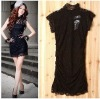 FY7184 black lace fashion mini black dresses