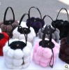 CDB006 2012 hot sale rabbit fur ball shoulder bag