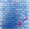 Iridescent Sea Blue Glass Mosaic Bricks, Finger-Textured (ZM017)