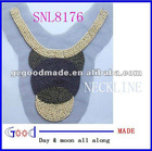 wood beaded neckline&neck trim embroidery