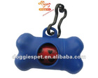 Blue biodegradable plastic bone shaped dog bag dispenser