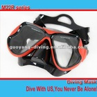 Quality rubber paint snorkel diving mask,black silicone skirt and strap