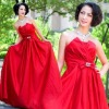 2011 new Stunning three-dimensional models red lace pinch pleated luxury fashion beads bridal gowns SlimLF661
