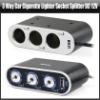 3 Way Car Cigarette Lighter Socket Splitter DC 12V + USB + LED Light Switch, YRA101A