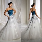 BW107 2012 Elegant blue and white color a-line designer wedding dress in us,uk,euro size