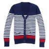 latest style V neck colorful design couple cardigan sweater