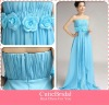 Custom Made Ruffle Handmade Flowers Waist Chiffon Long Bridesmaid Dress Latest Design Formal Evening Gown