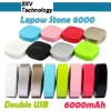 Lepow Stone 6000 power bank / 6000mah external battery for iphone & ipad / colorful mobile power bank