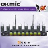 OK-8 UHF/PLL 8 Channel wirelesss microphone system