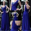 BE158 One shoulder blue beaded ruched flowing floor length evening dress 2013/designer prom dress