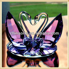Purple Crystal Wedding Favor Swans Set for Party Decoration